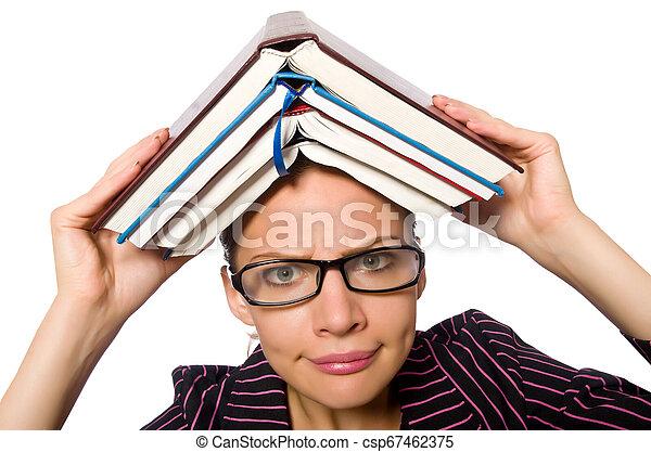 femme, pourpre, jeune, livres, déguisement, tenue - csp67462375