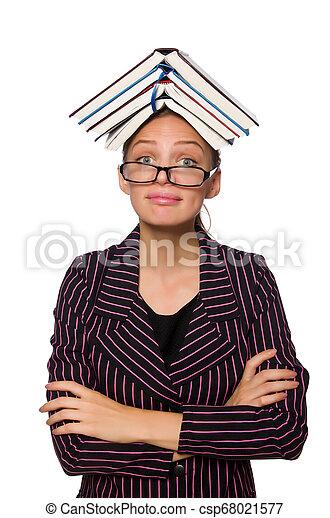 femme, pourpre, jeune, livres, déguisement, tenue - csp68021577