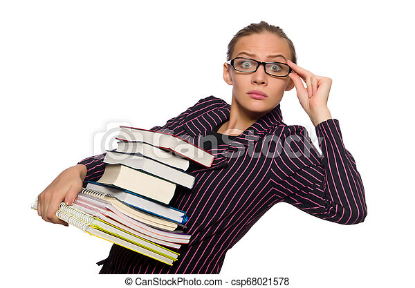 femme, pourpre, jeune, livres, déguisement, tenue - csp68021578