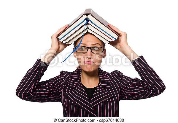 femme, pourpre, jeune, livres, déguisement, tenue - csp67814630