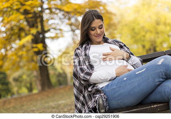 femme, pregnant, séance, parc, jeune, automne - csp29251906