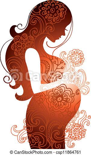 femme, pregnant, silhouette - csp11864761