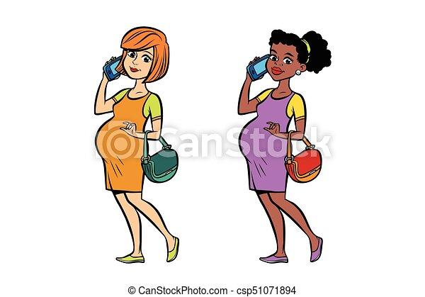 Femme Pregnant Téléphone Ensemble Noir Blanc