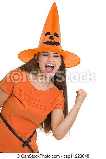 femme, projection, halloween, jeune, oui, chapeau, geste, heureux - csp11223648