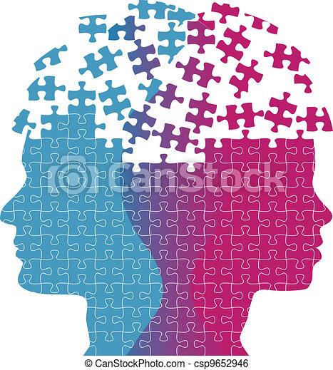 femme, puzzle, esprit, pensée, faces, problème, homme - csp9652946