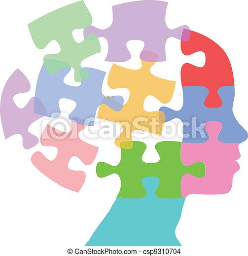 femme, puzzle, esprit, pensée, faces, problème - csp9310704