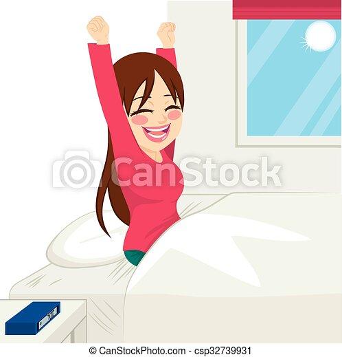 femme, réveiller, heureux - csp32739931