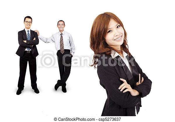 femme, reussite, business, confiant, asiatique, équipe, sourire - csp5273637