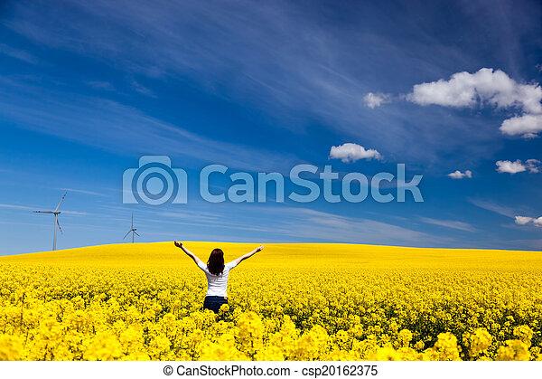 femme, reussite, printemps, jeune, harmonie, écologie, field., santé, heureux - csp20162375