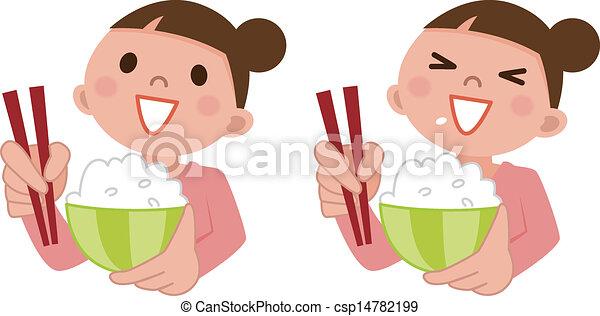 femme, riz, manger, délicieux - csp14782199