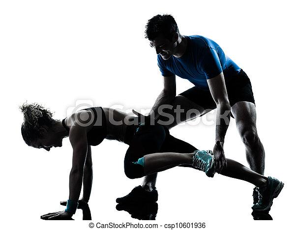 femme, séance entraînement, exercisme, fitness, jambes, homme - csp10601936