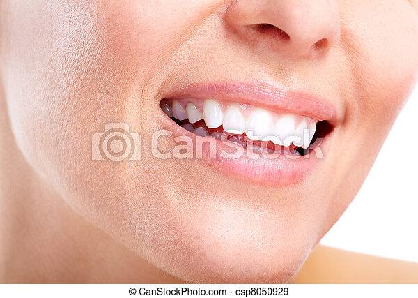 femme saine, smile., dents - csp8050929