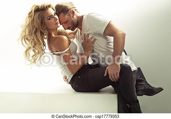 femme, sien, musculaire, toucher, sensuelles, homme - csp17779353
