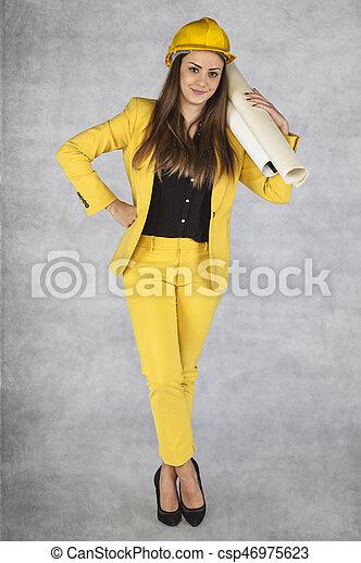 femme souriante, business, tenue, plans - csp46975623