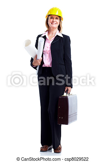 femme souriante, engineer., business - csp8029522