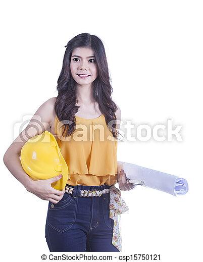 femme souriante, ingénieur - csp15750121