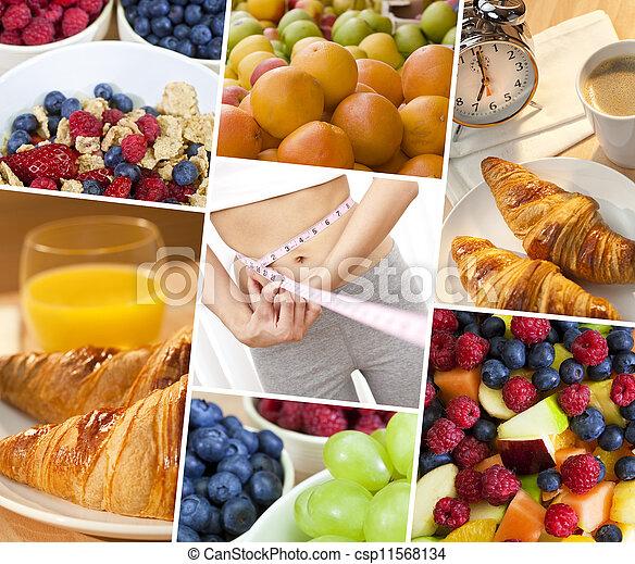 femme, style de vie, &, montage, régime, nourriture saine, frais - csp11568134