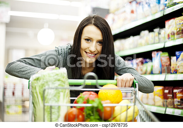 femme, supermarché - csp12978735