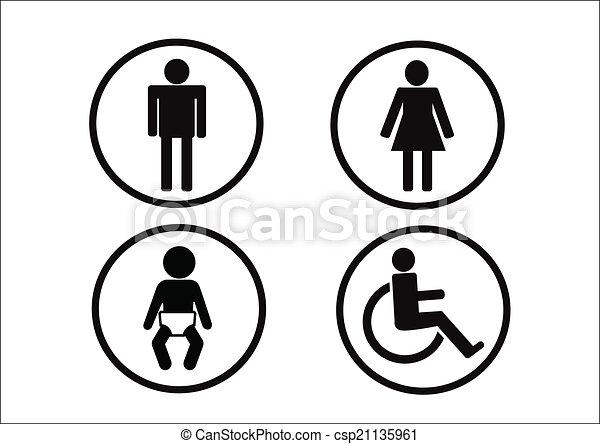 Femme Symbole Incapacité Toilettes Enfant Icône Homme