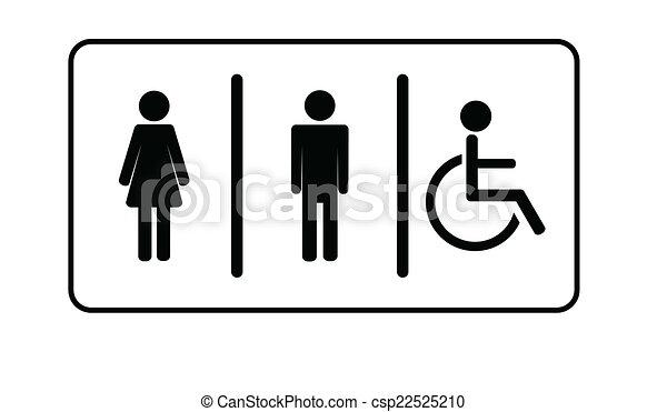 Femme Symbole Une Invalide Toilettes Vecteur Toilette Homme