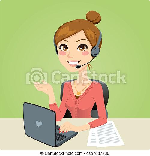 femme, téléopérateur - csp7887730