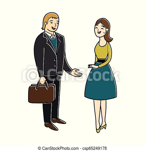 femme, talk., business, gens., avoir, bavarder, petit, conversation., bureau, concept., homme - csp65249178