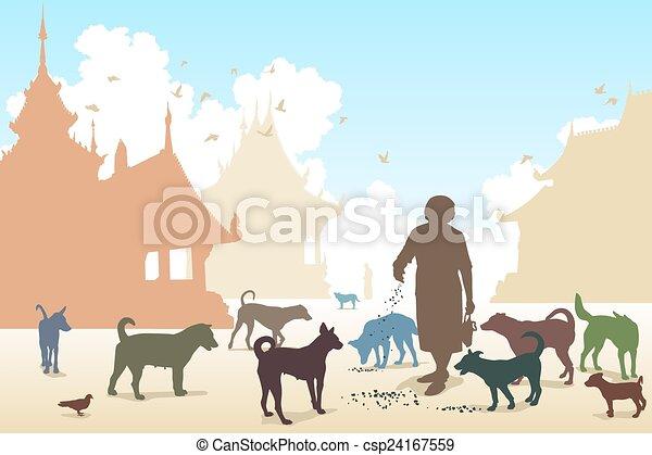 femme, temple, chien - csp24167559