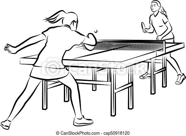 femme, tennis, -, femmes, action, table - csp50918120