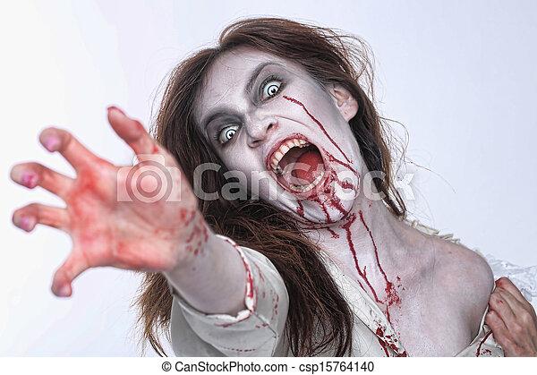 femme, themed, saignement, horreur, psychotic, image - csp15764140