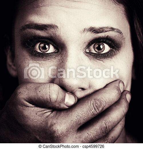 femme, torture, effrayé, abus domestique, victime - csp4599726