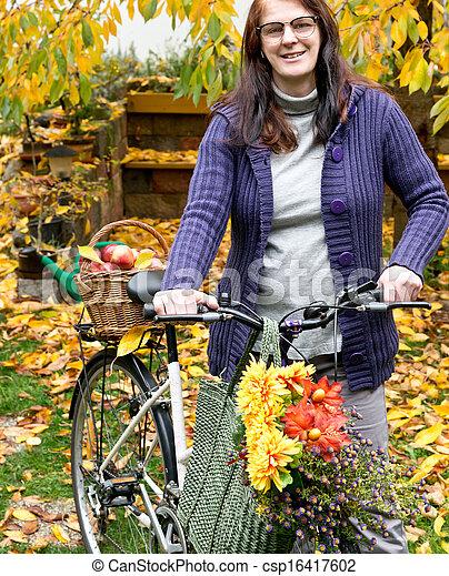 femme, vélo - csp16417602