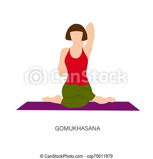 femme vache gomukhasana pose ou figure femme