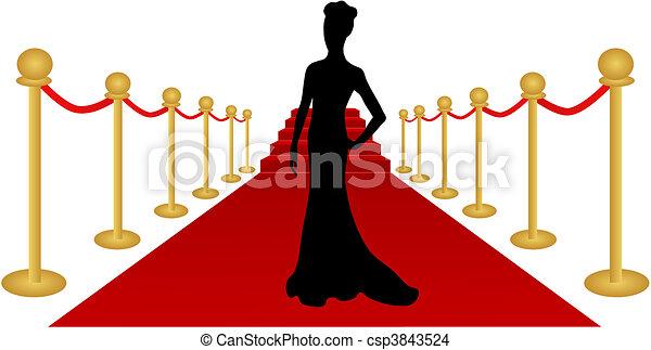 femme, vecteur, silhouette, moquette rouge - csp3843524