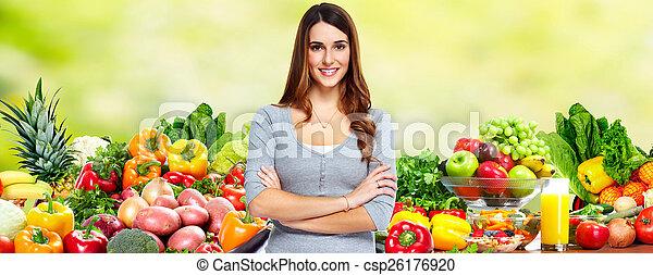 femme, vegetables., fruits - csp26176920