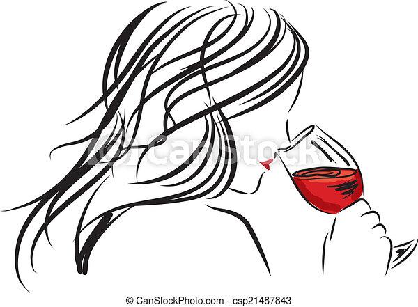 femme, verre, il, sentir, girl, vin - csp21487843
