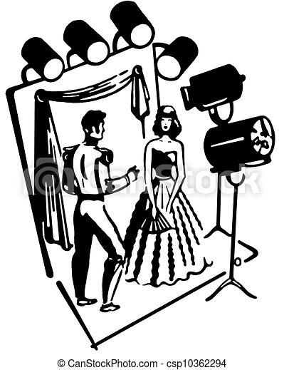 Femme version th tre ensemble noir blanc homme tape - Dessin de theatre ...