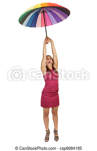 femme, voler, parapluie - csp6684185