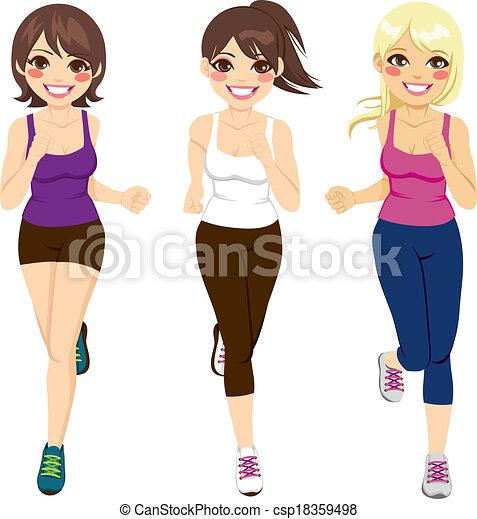 femmes, athlète, coureurs - csp18359498