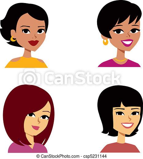 femmes, dessin animé, avatar, multi-ethnique - csp5231144