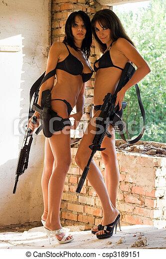 femmes, deux, sexy - csp3189151