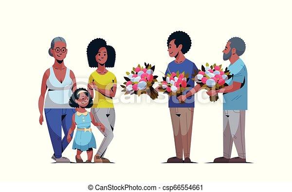femmes, multi, concept, mars, famille, génération, hommes, américain, féliciter, international, donner, longueur, entiers, caractères, africaine, 8, horizontal, fleurs, jour, heureux - csp66554661