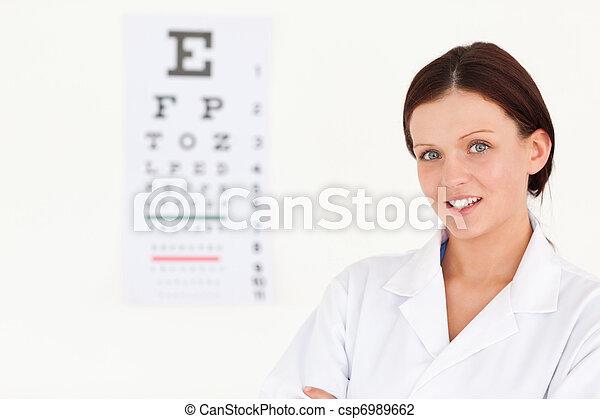 femmina, bello, ottico, prova, occhio - csp6989662