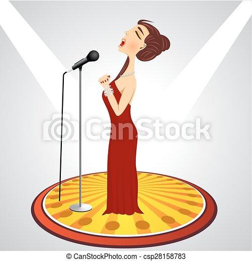 femmina, cartone animato, microfono, cantante - csp28158783