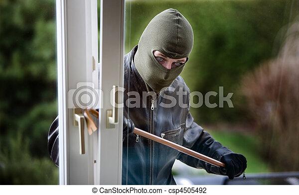 fenêtre, cambrioleur - csp4505492