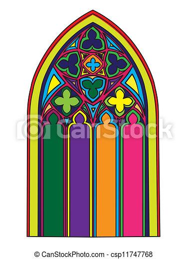 Fen tre gothique sur tach illustration main fen tre for Fenetre gothique