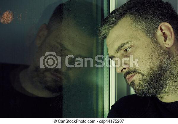 fenêtre, homme - csp44175207