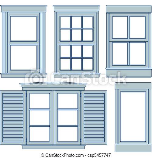 Fenêtre Modèles Plan Fenêtre Vecteur Cinq Illustrations