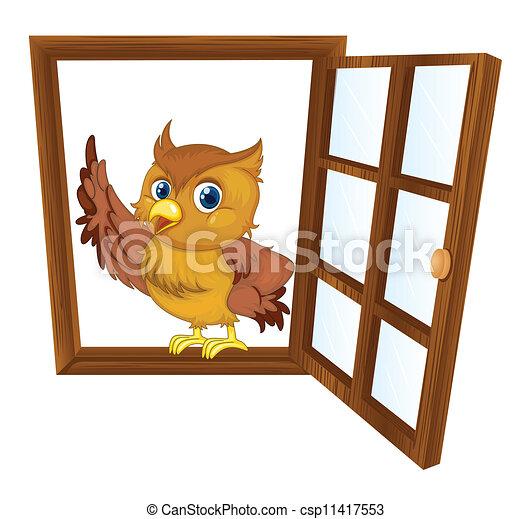 fenêtre, oiseau - csp11417553