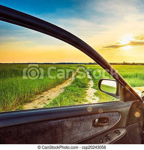 fenêtre voiture, vue - csp20243056