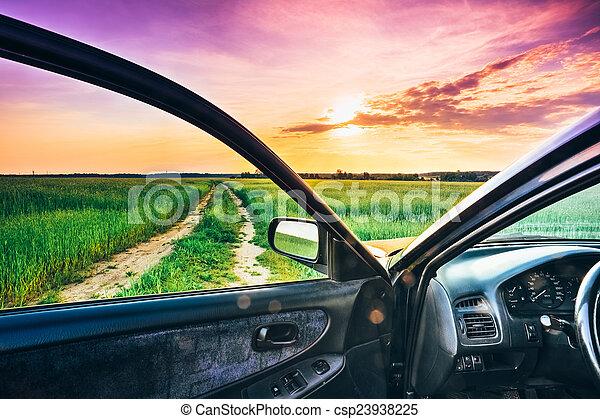 fenêtre voiture, vue - csp23938225
